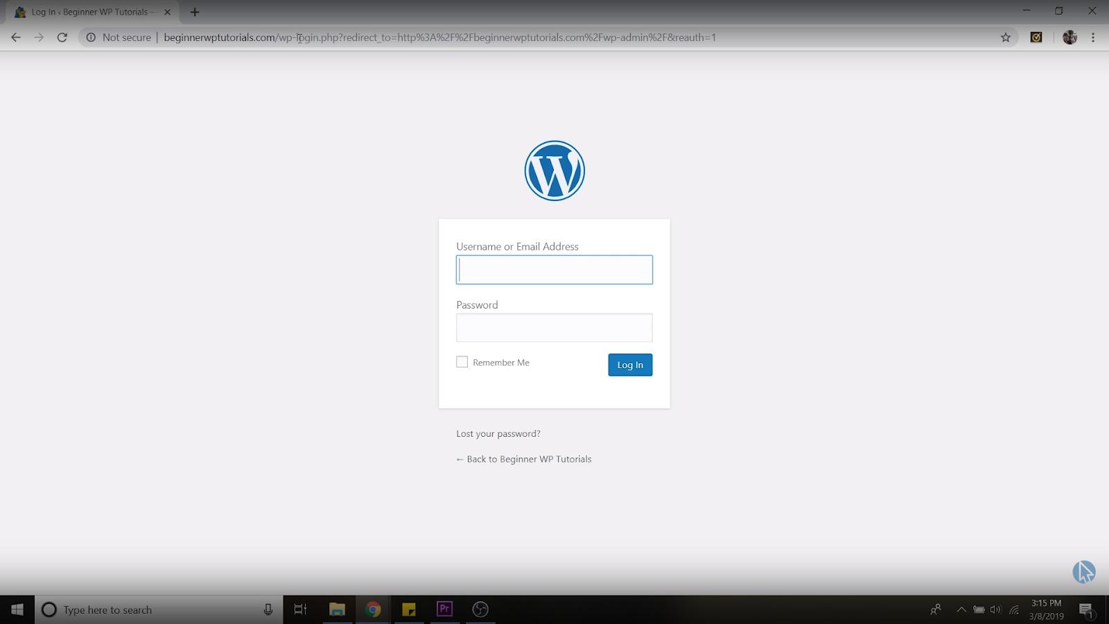 WordPress dashboard login page