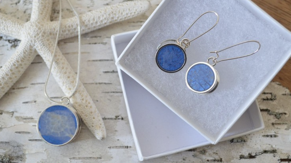 blue resin pendants