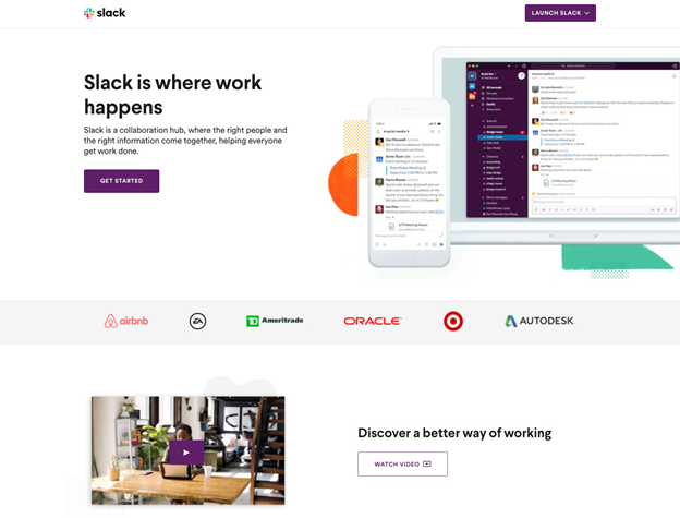 video landing page examples slack