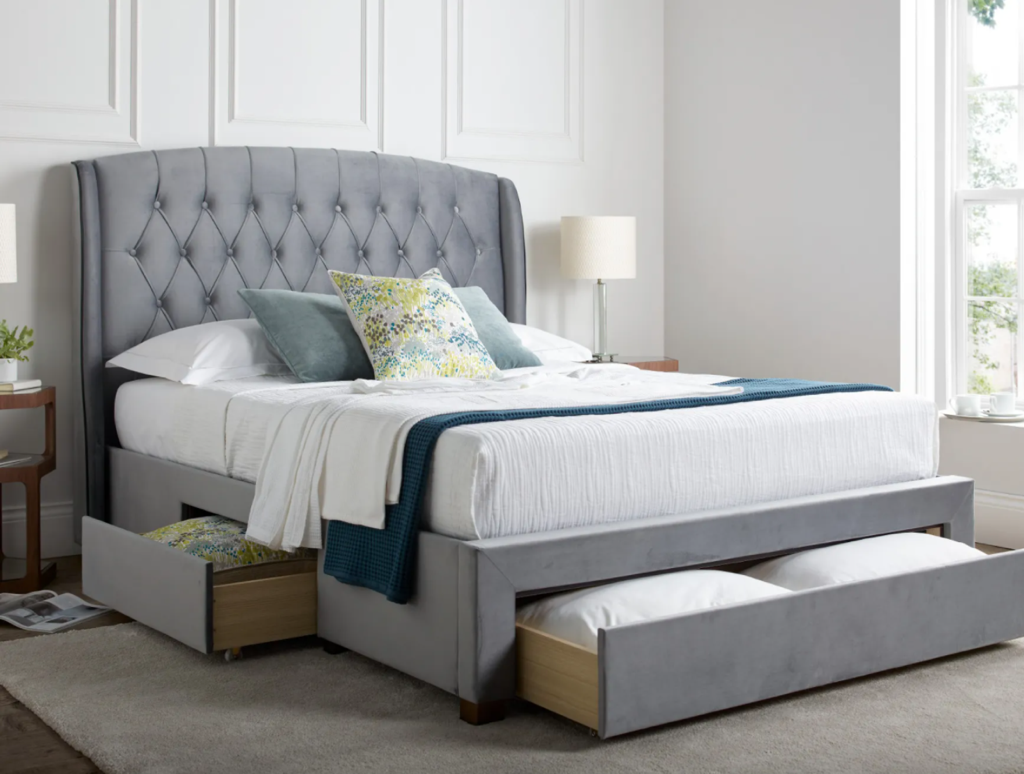 elise grey winged bed with drawer storage