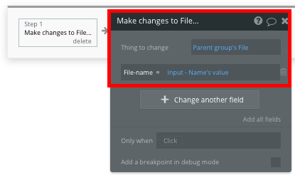 Changing the name of a no-code Dropbox clone file