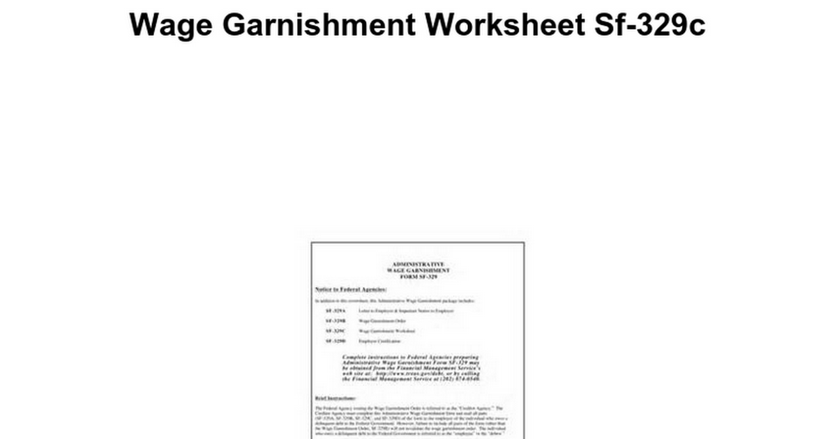 Wage Garnishment Worksheet Kidz Activities