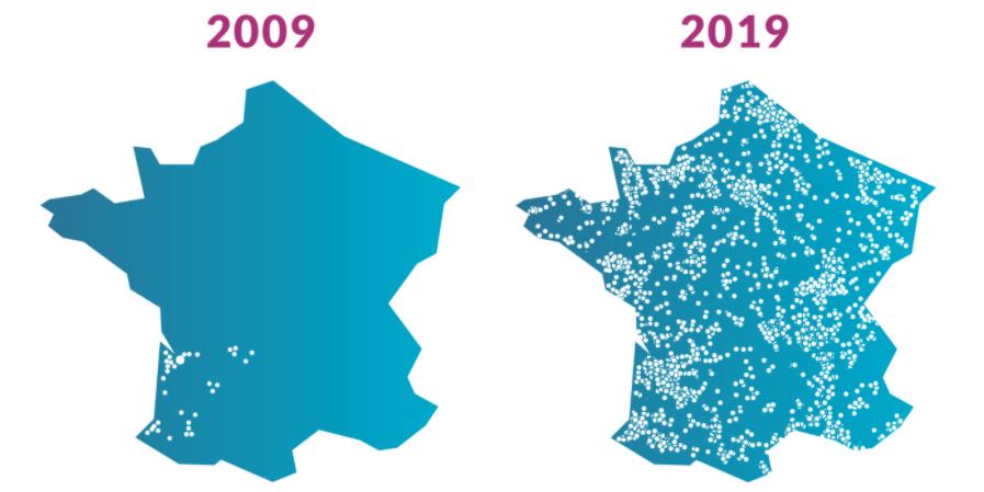 Carte croissance Gaz de Bordeaux en France depuis 2009