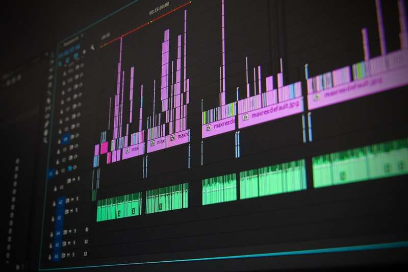 Video and audio editing as can be seen on a screen