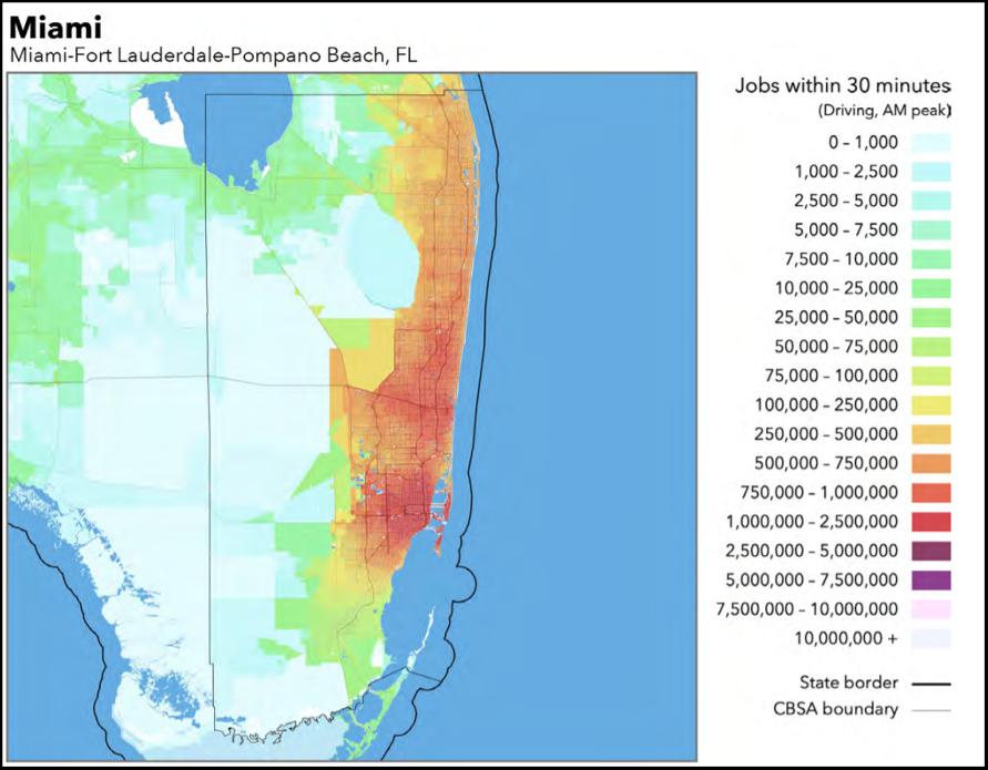 Em Miami, um trabalhador que se desloca por 30 minutos de transporte público acessa 15 mil empregos. Se dirigir o próprio carro, tem acesso a 500 mil no mesmo período. (Fonte: Accessibility Observatory/Reprodução)