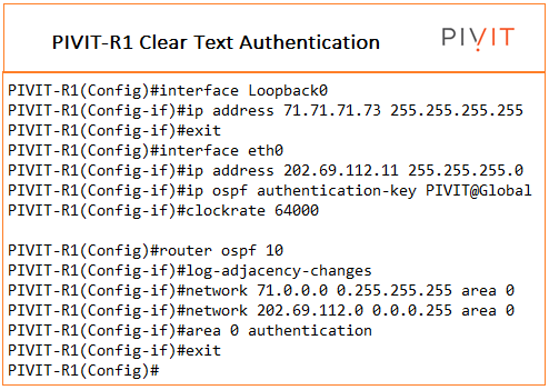 clear text authentication configuration commands from pivit global