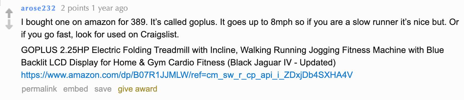 Reddit user arose232 mentions that GoPlus treadmill goes up to 8 mph.