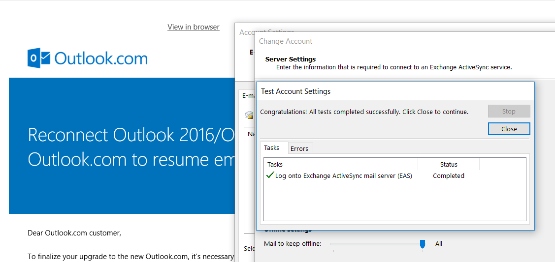 Reconnect Outlook 2016/2013 to Outlook com after upgrade Outlook