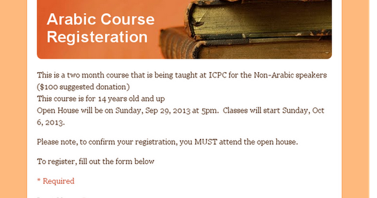 Arabic Course Registeration