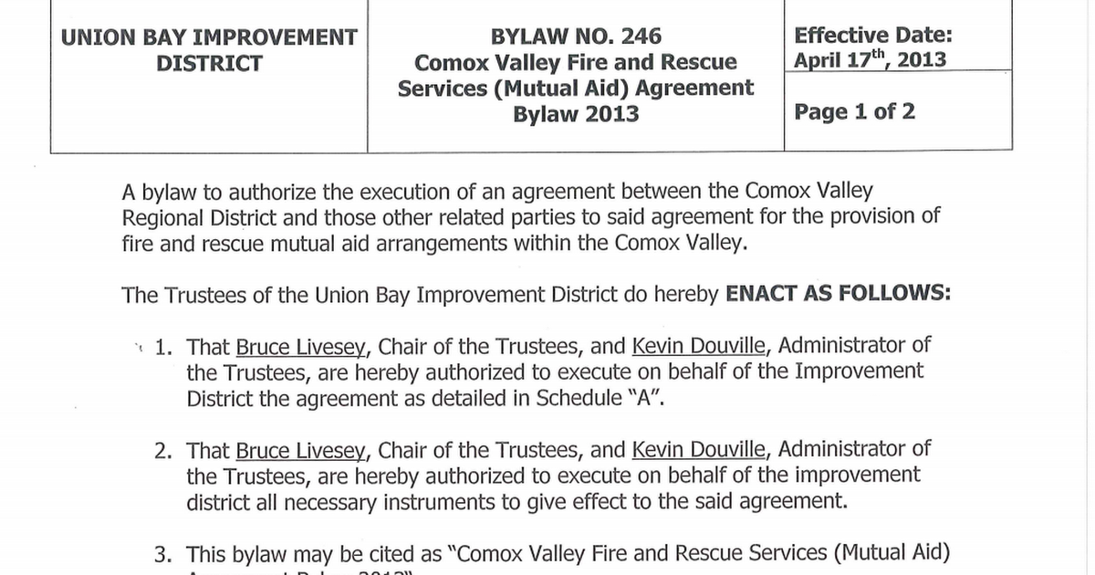 246 Comox Valley Fire And Rescue Services Mutual Aid Agreement Bylaw