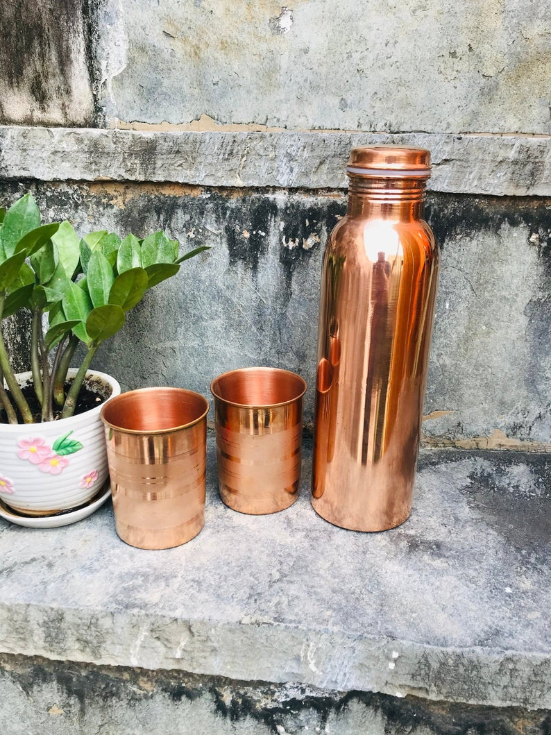 drinkware sets of copper bottle and glass