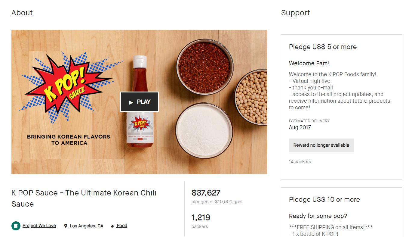 kpop foods kickstarter launch