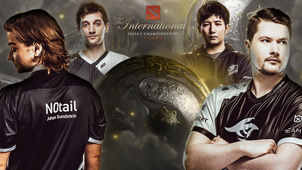 Dota 2 The International Teams' star players along with the Aegis of the Champions