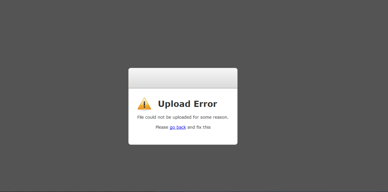 A message showing a CMS image upload fail. Source: Jotform - Troubleshoot Content Management System - The Rev