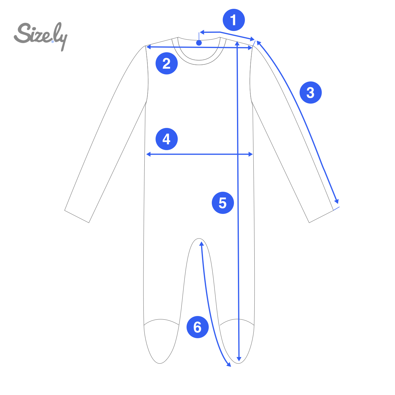 Measurement areas of a bodysuit