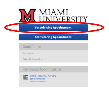 Within SSC-Campus advising appointment scheduling system, students can select Set Advising Appointment.