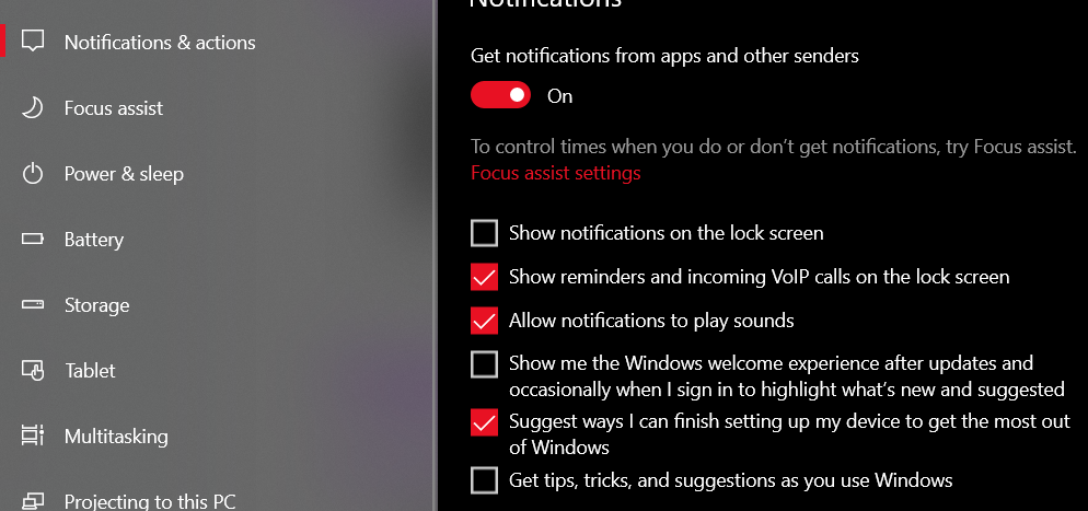 In the Notifications section, uncheck the Show me Windows Welcome experience and Get tips, tricks, and suggestions checkboxes