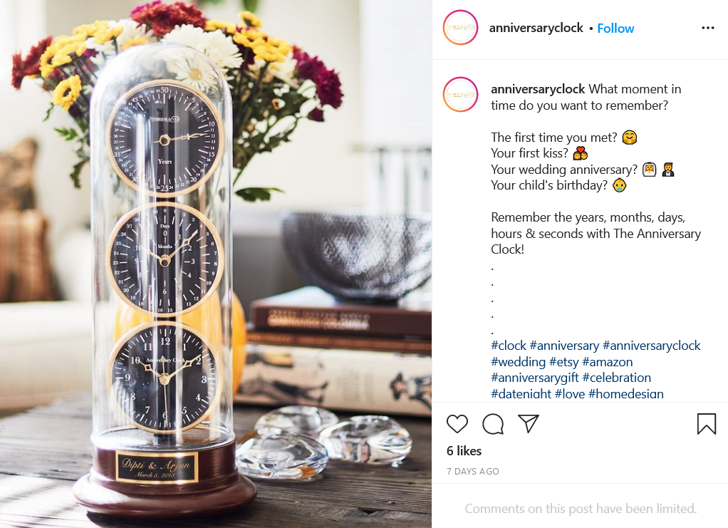 Anniversary gift clock on Etsy