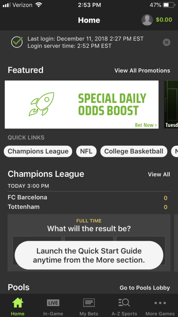DraftKings mobile app