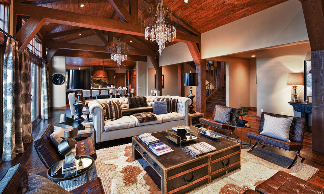 Steampunk Interior Design Living Room Chandeliers Area Rug Lamps Wooden Ceilings with Exposed Beams