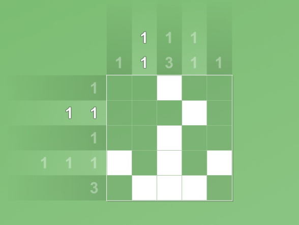 A mostly-completed 5 x 5 grid puzzle against a green background, with most of the row and column numbers greyed out.