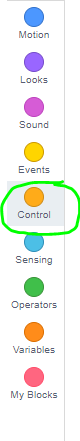 control button in scratch circled in green