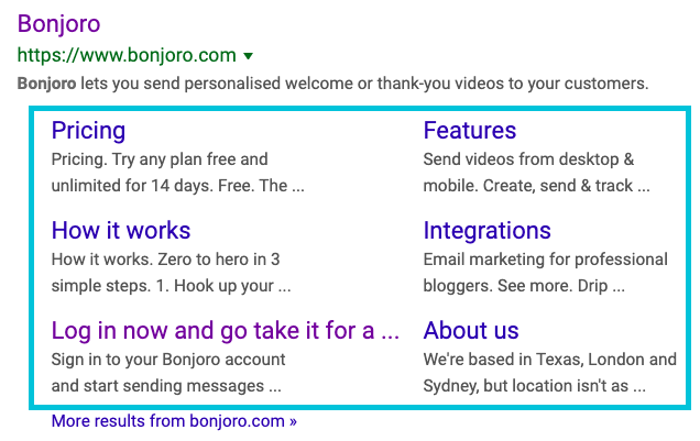 example sitelinks in search results