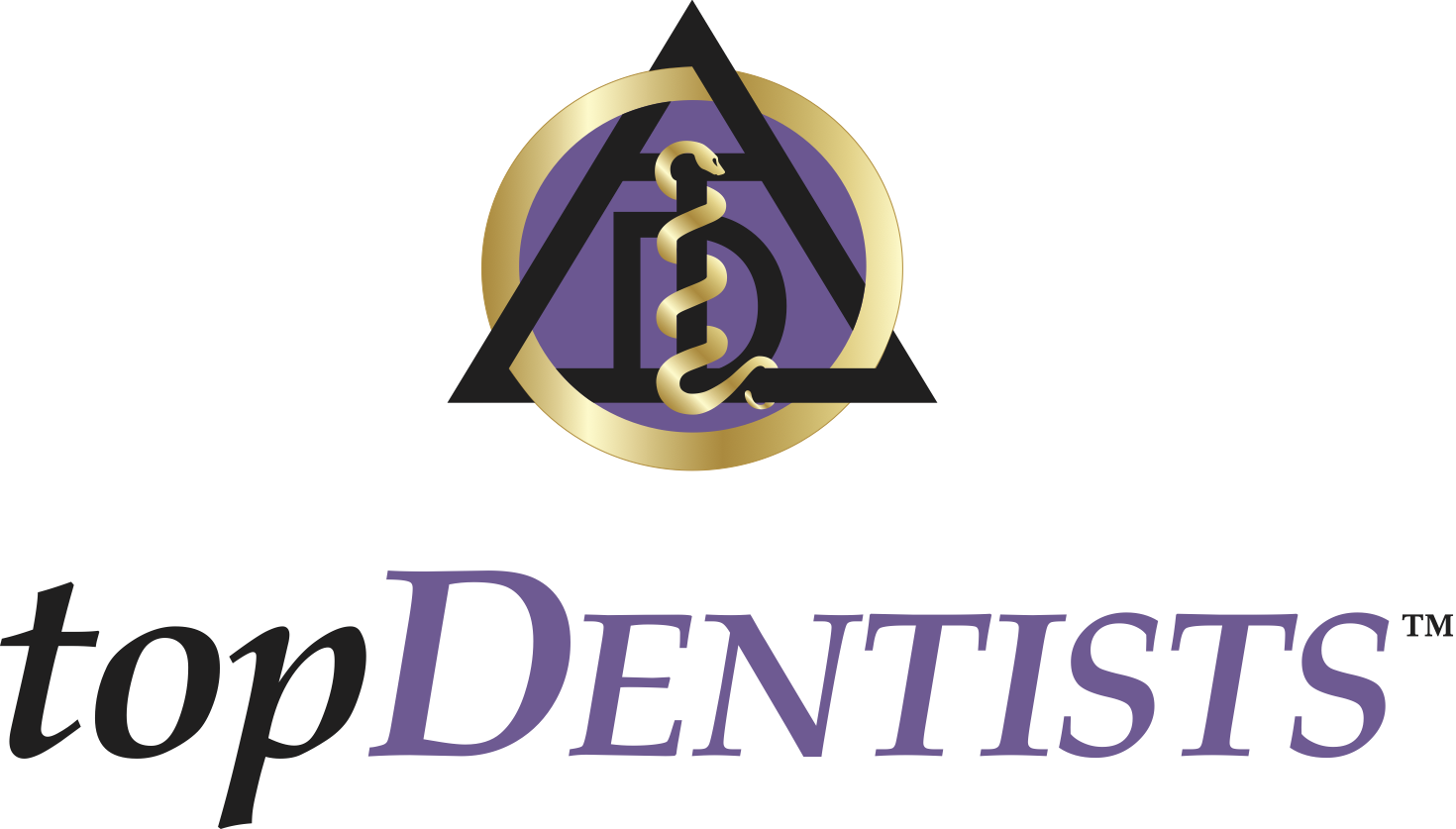 Top Dentists award logo dentistry symbol in purple gold and black given to best dentists annually by their peers