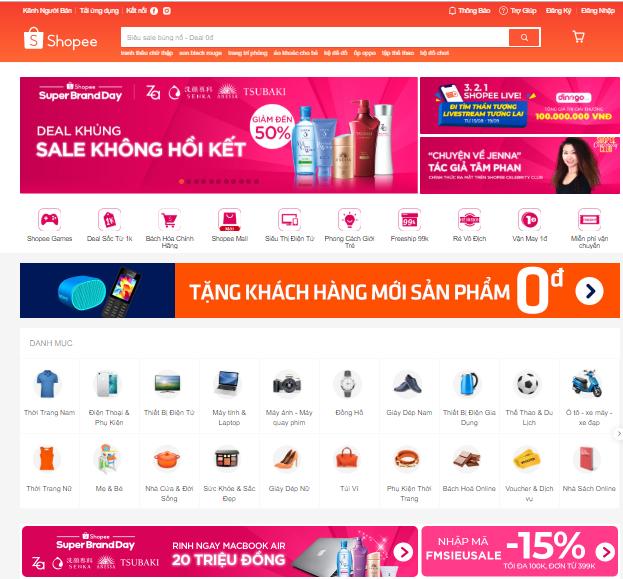 Website thương mại điện tử Shopee