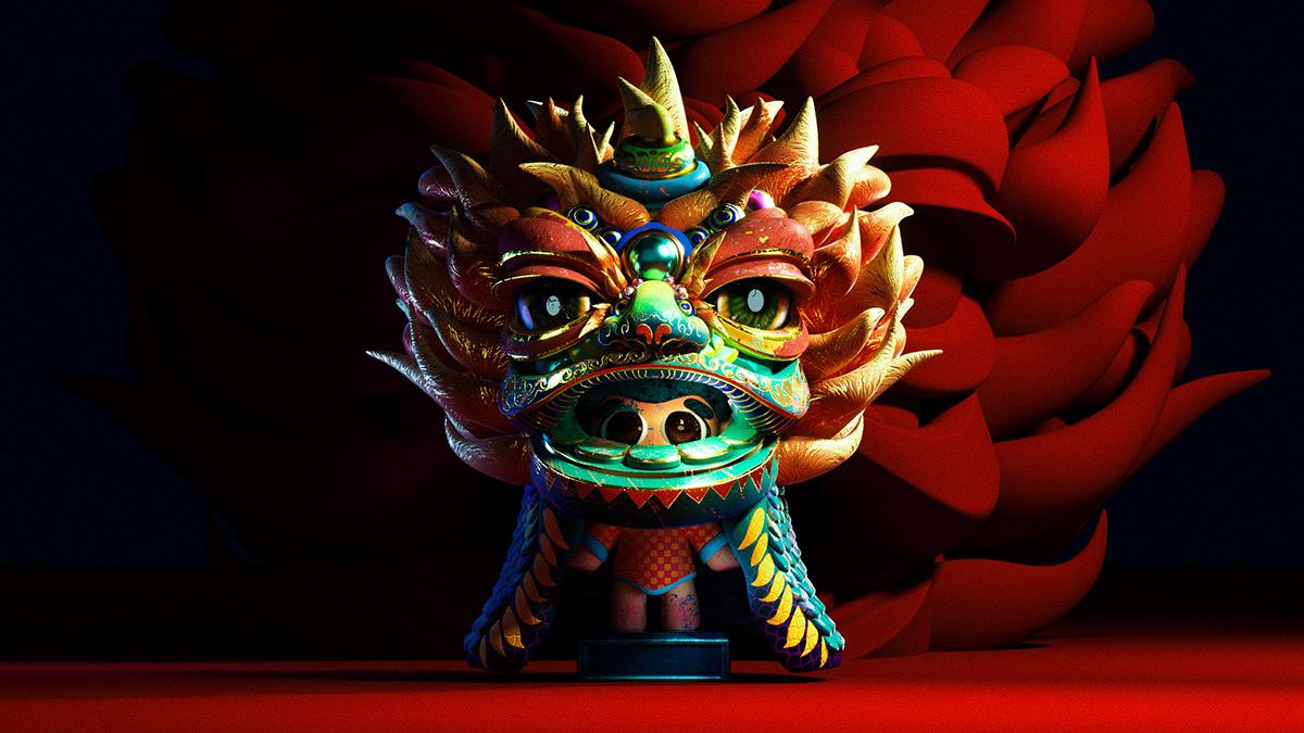 3D 3d modeling blender c4d Character dancing lion garage kits modeling redshift Render
