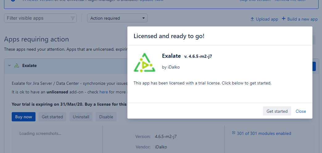 Exalate license confirmation on Jira