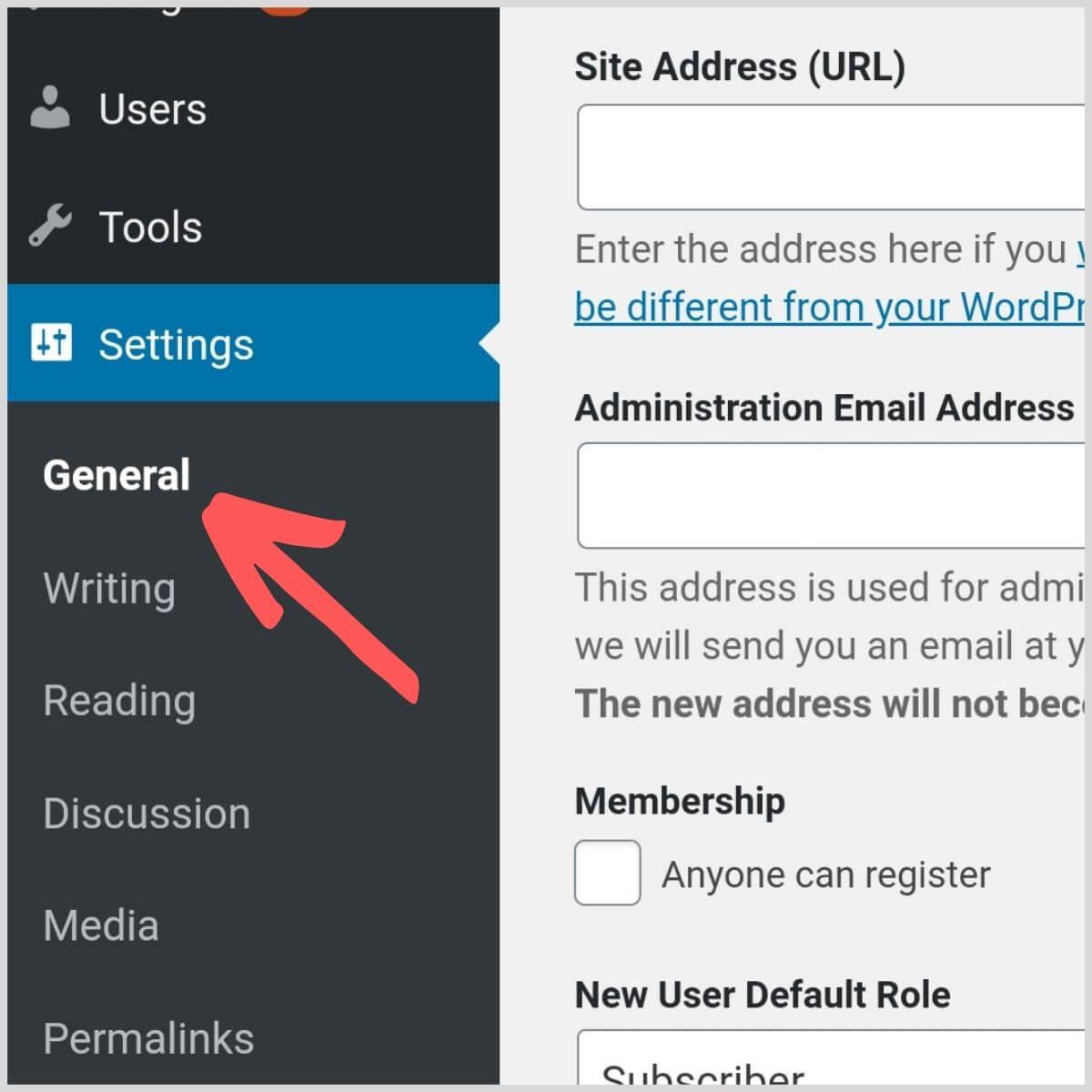 Wordpress general settings view