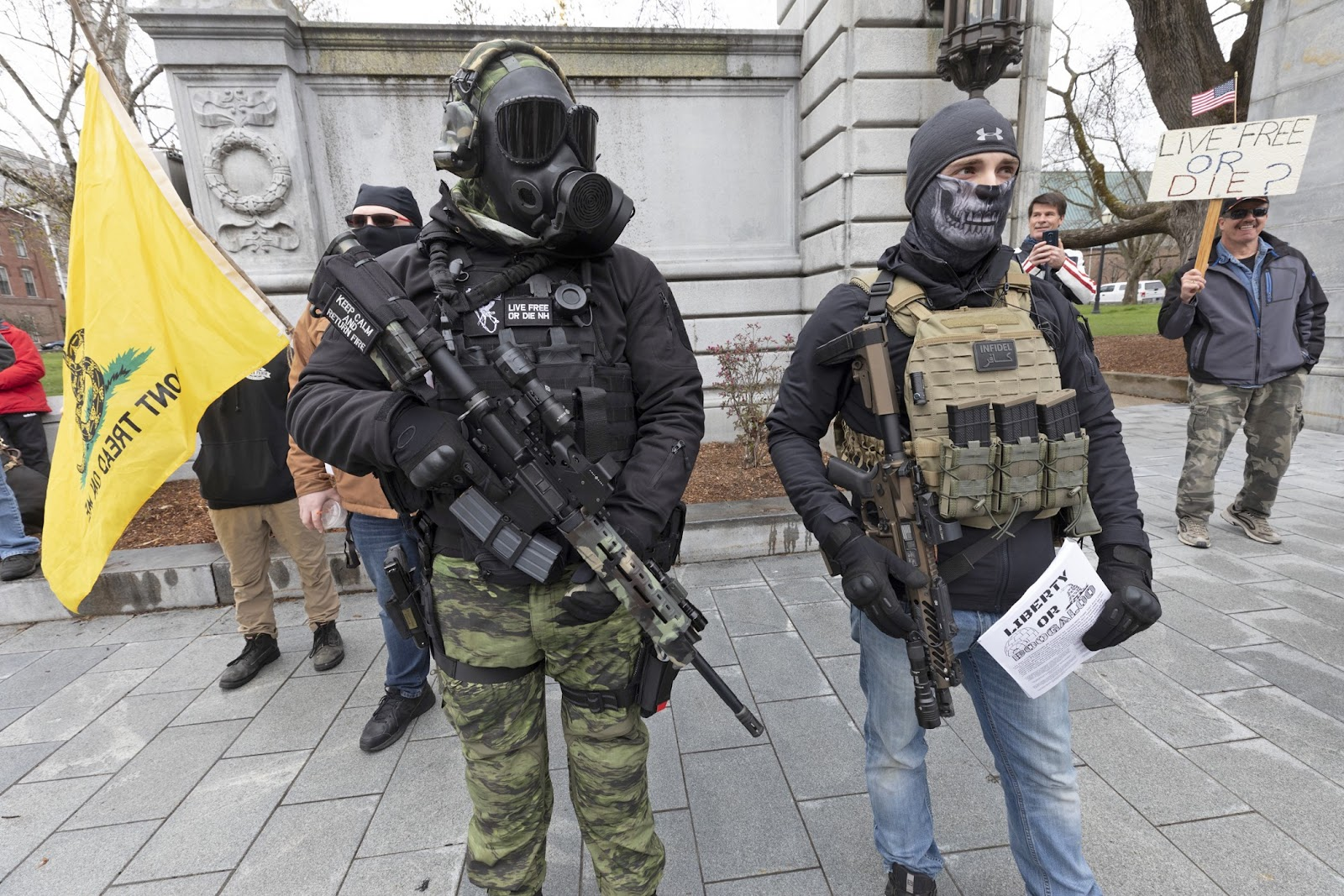 Far-right militia members at a re-open protest