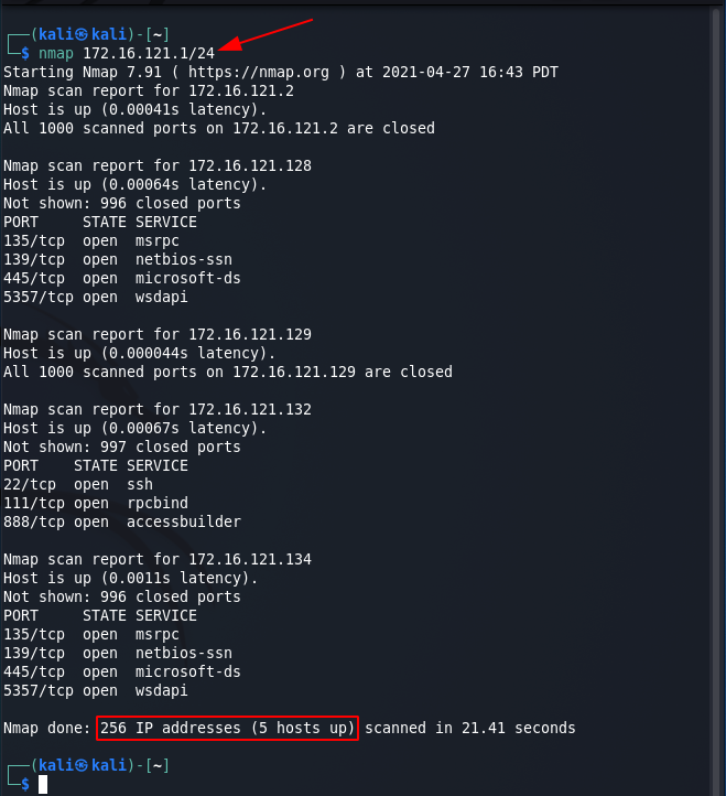 Nmap commands - CIDR target scan. Source: nudesystems.com