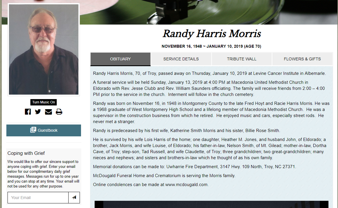 Randy Harris Morris Obituary
