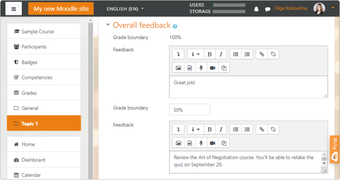 Provide learners with a customized feedback message