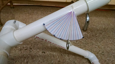 Angle finder made from laminated paper, washer, string
