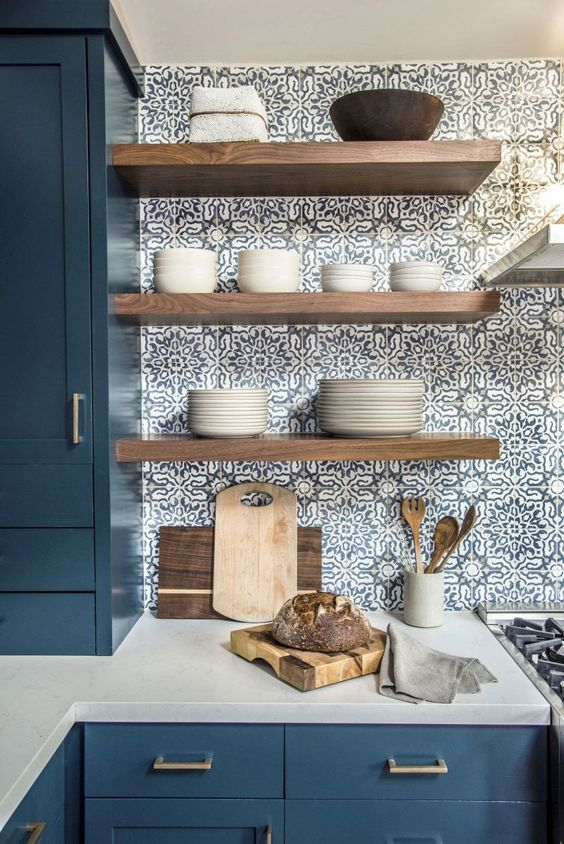 interior design atlanta kitchen trends 2020 blue tiles handpainted open shelving