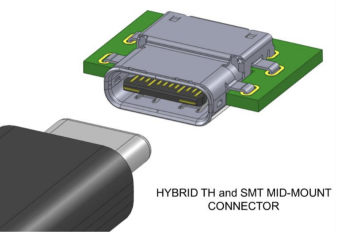 Hybrid TH and SMT Mid-Mount Connector