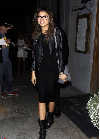 all-black outfit worn by Zendaya