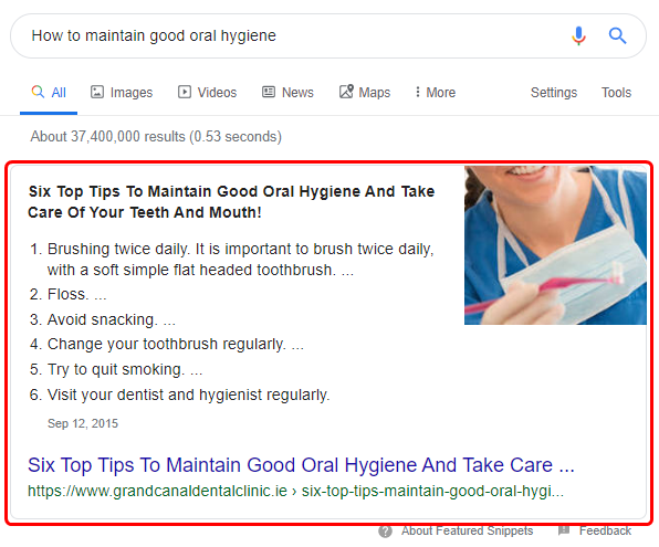 Featured snippets are one of the more popular Google SERP features.