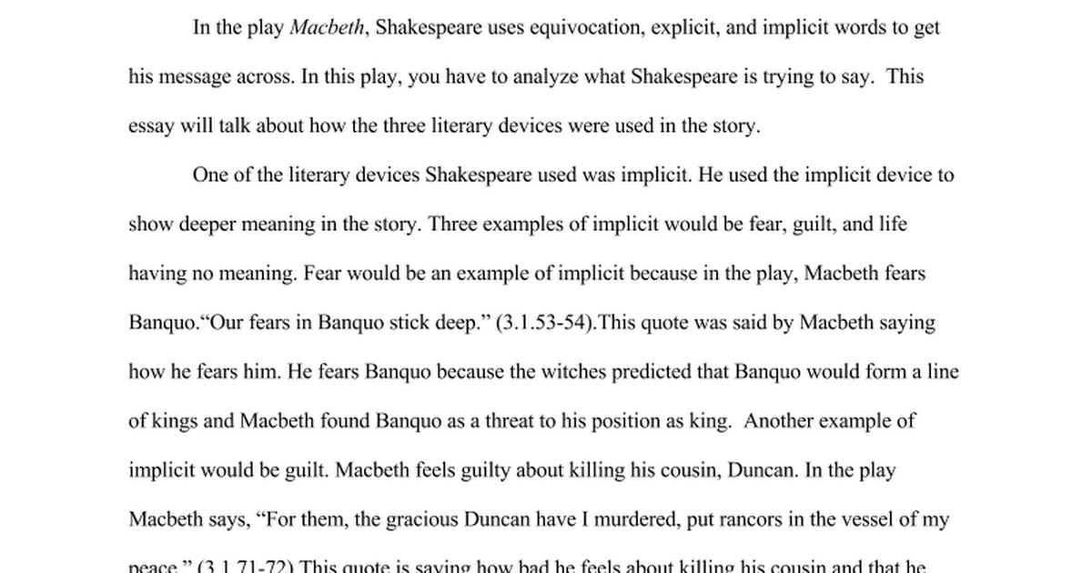 macbeth close reading essay google docs