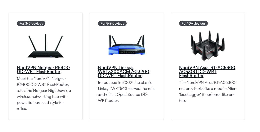 screenshots of three NordVPN routers inlcuding Netgear, Linksys, and Asus models