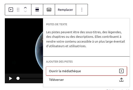 Capture d'écran du menu d'ajout de pistes dans l'édition d'un bloc Vidéo.