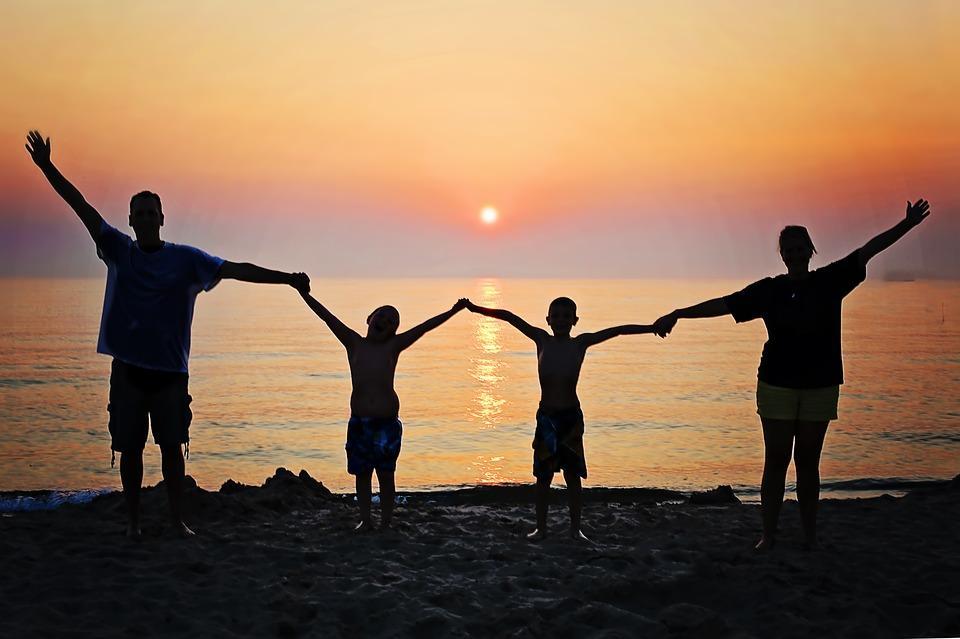 Familia, Puesta De Sol, Playa, La Felicidad, Verano