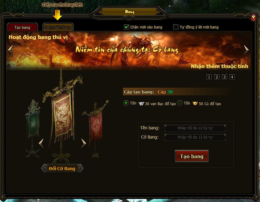 BANG HỘI | Webgame Khoa Huyễn Cửu Tinh Vô Song | 360game.vn