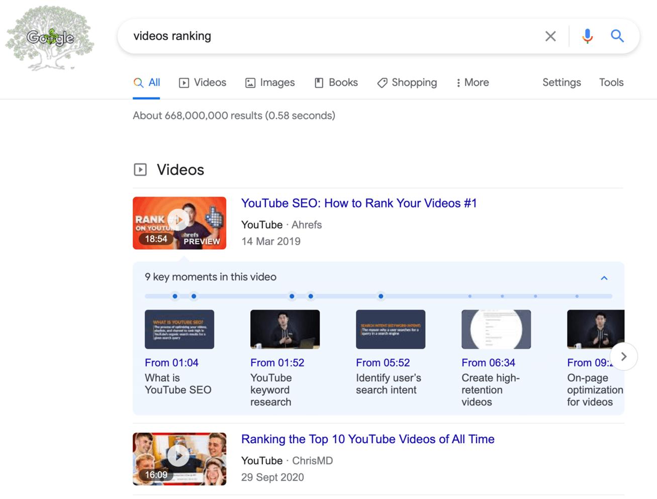 videos ranking on google
