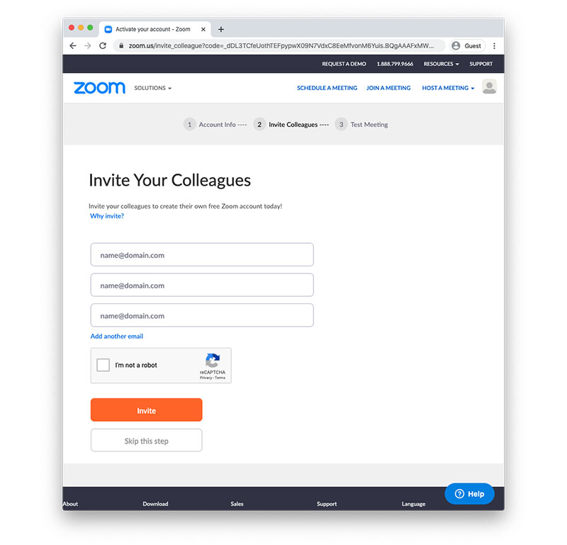 Zoom link invitation