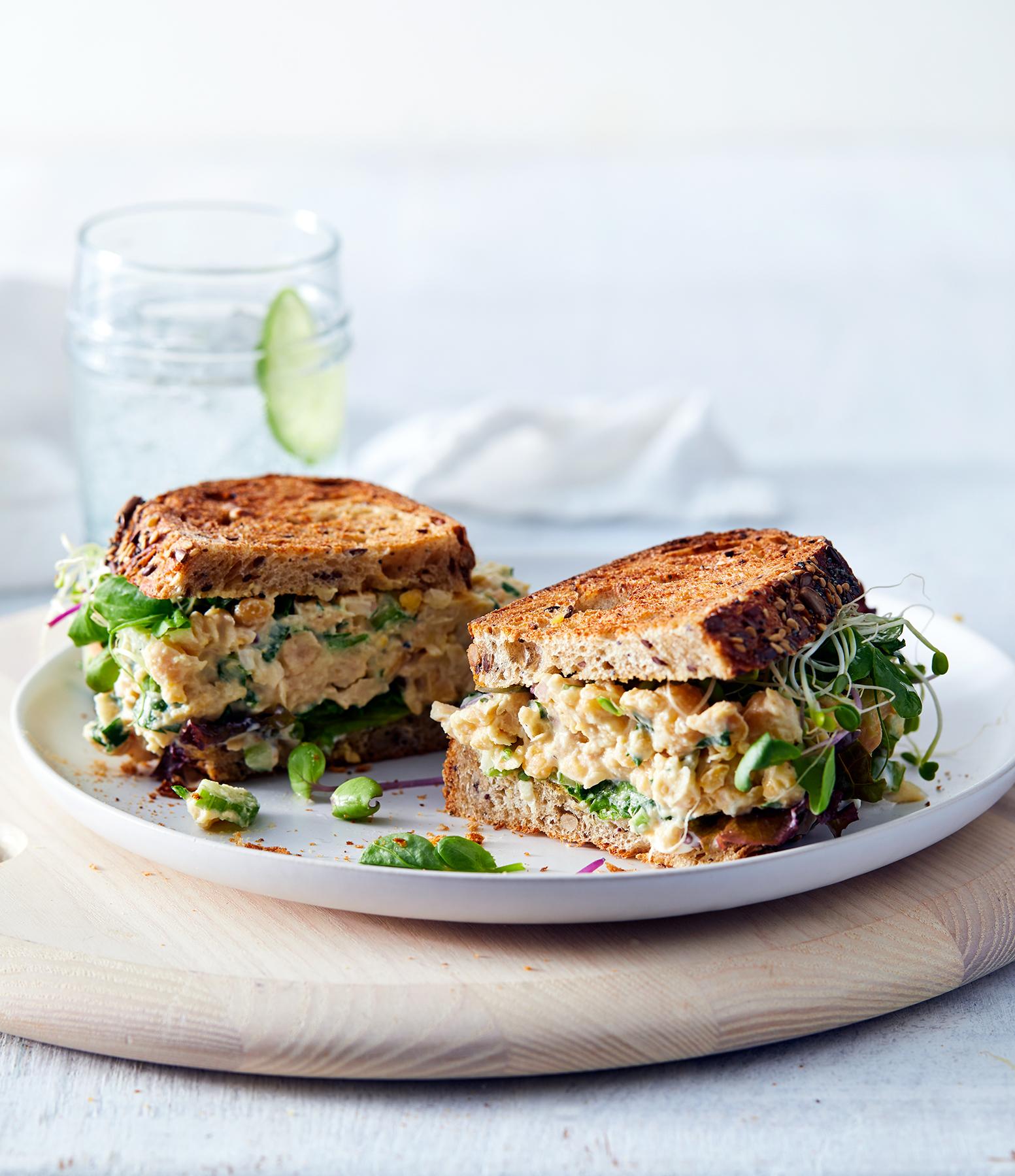 Creamy Chickpea Salad Bagel Sandwich