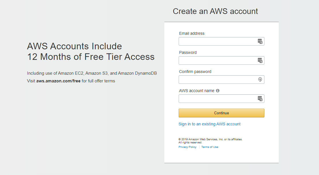Create AWS Account: Login Page